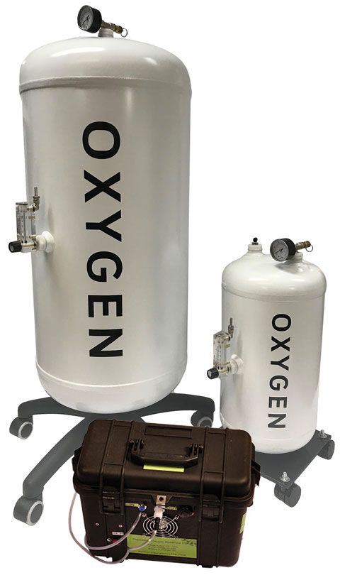 Oxygen reservoirs with compressor pump